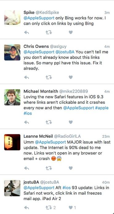 iOS 9.3 update breaks links in Safari, Messages and Mail apps