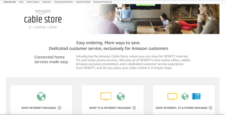 Amazon begins reselling Comcast services on its new site, the Amazon Cable Store