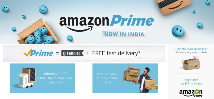 Amazon Prime launches in India, initially without Prime Video service