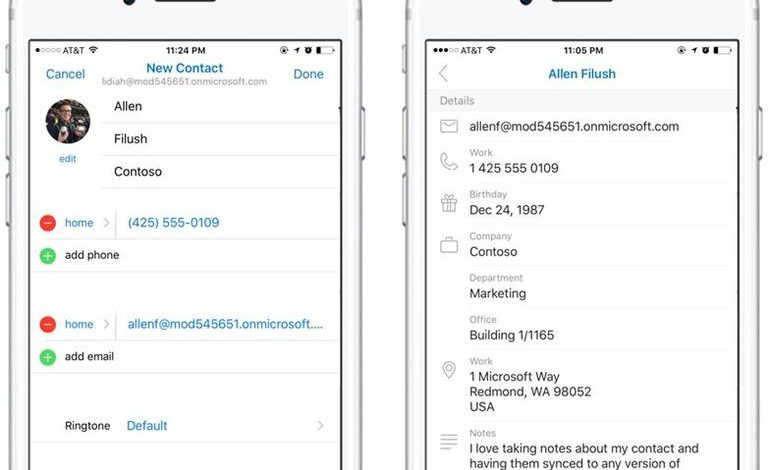 Microsoft adds ability to add, edit contacts in Outlook on iOS