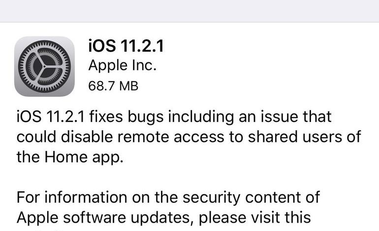 Apple releases iOS 11.2.1 with HomeKit vulnerability fix