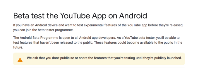 YouTube's beta program will test stability, not new features
